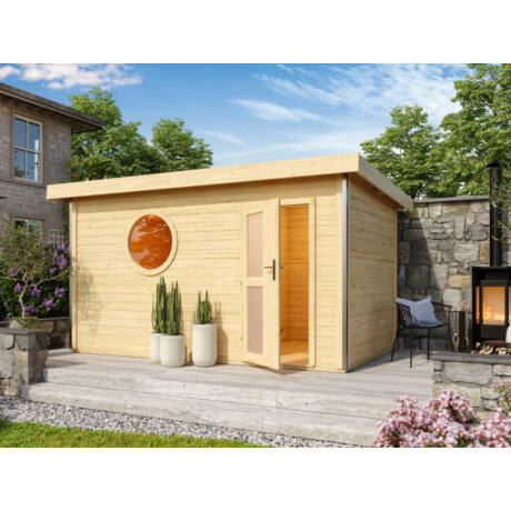 Szaunaház – Skrollan 3 modern faajtóval, ablakokkal