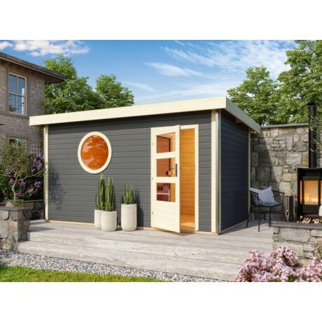 Szaunaház – Skrollan 3 modern faajtóval, ablakokkal – szürke